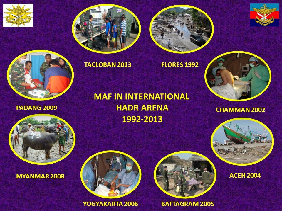 MAF IN INTERNATIONAL HADR ARENA 1992-2013 FLORES 1992 CHAMMAN 2002 ACEH 2004 BATTAGRAM 2005YOGYAKARTA 2006 MYANMAR 2008 PADANG 2009 TACLOBAN 2013