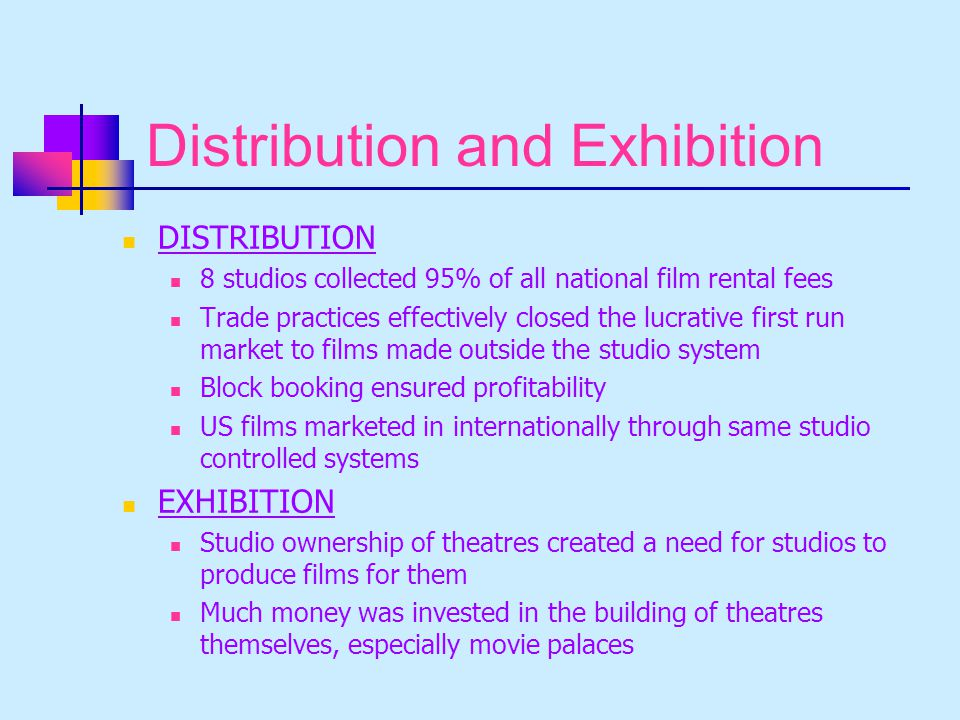 Distribution and Exhibition DISTRIBUTION 8 studios collected 95% of all national film rental fees Trade practices effectively closed the lucrative first run market to films made outside the studio system Block booking ensured profitability US films marketed in internationally through same studio controlled systems EXHIBITION Studio ownership of theatres created a need for studios to produce films for them Much money was invested in the building of theatres themselves, especially movie palaces