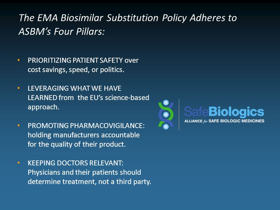 The EMA Biosimilar Substitution Policy Adheres to ASBM's Four Pillars: PRIORITIZING PATIENT SAFETY over cost savings, speed, or politics.