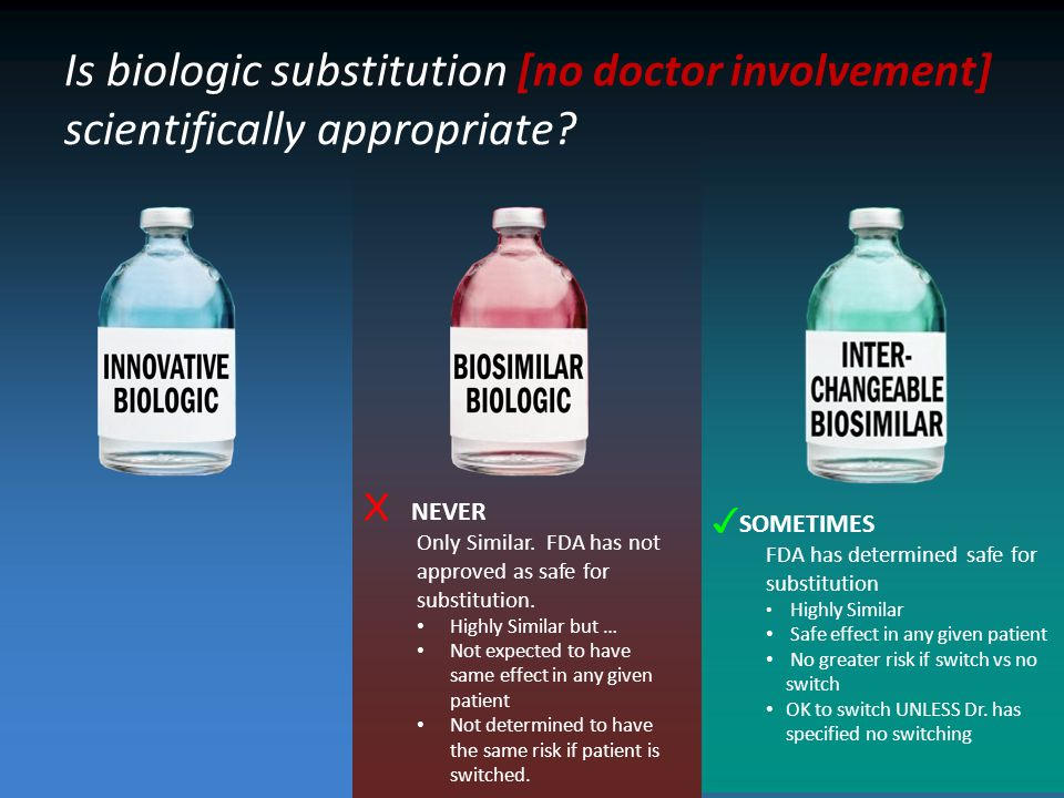 Is biologic substitution [no doctor involvement] scientifically appropriate.