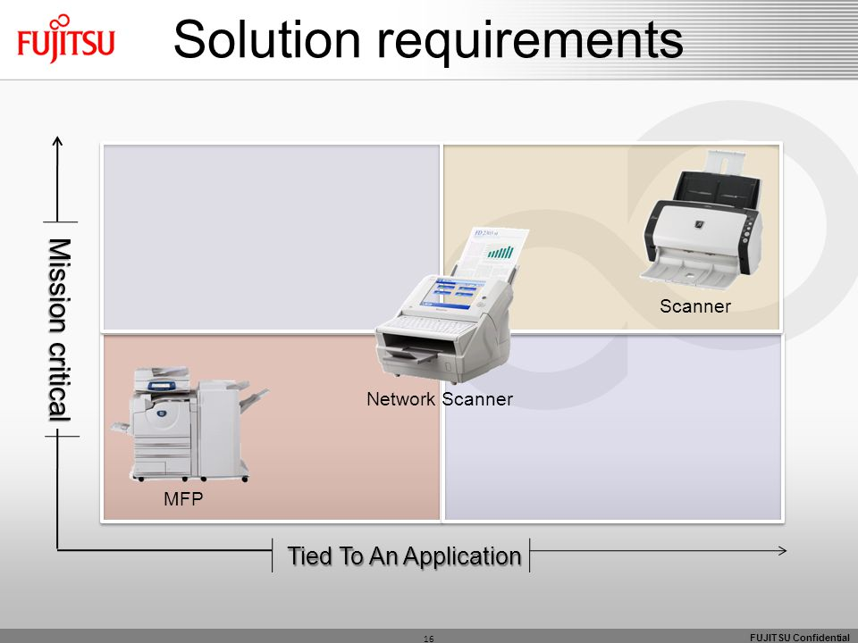 FUJITSU Confidential Mission critical Tied To An Application MFP Network Scanner Scanner 16 Solution requirements
