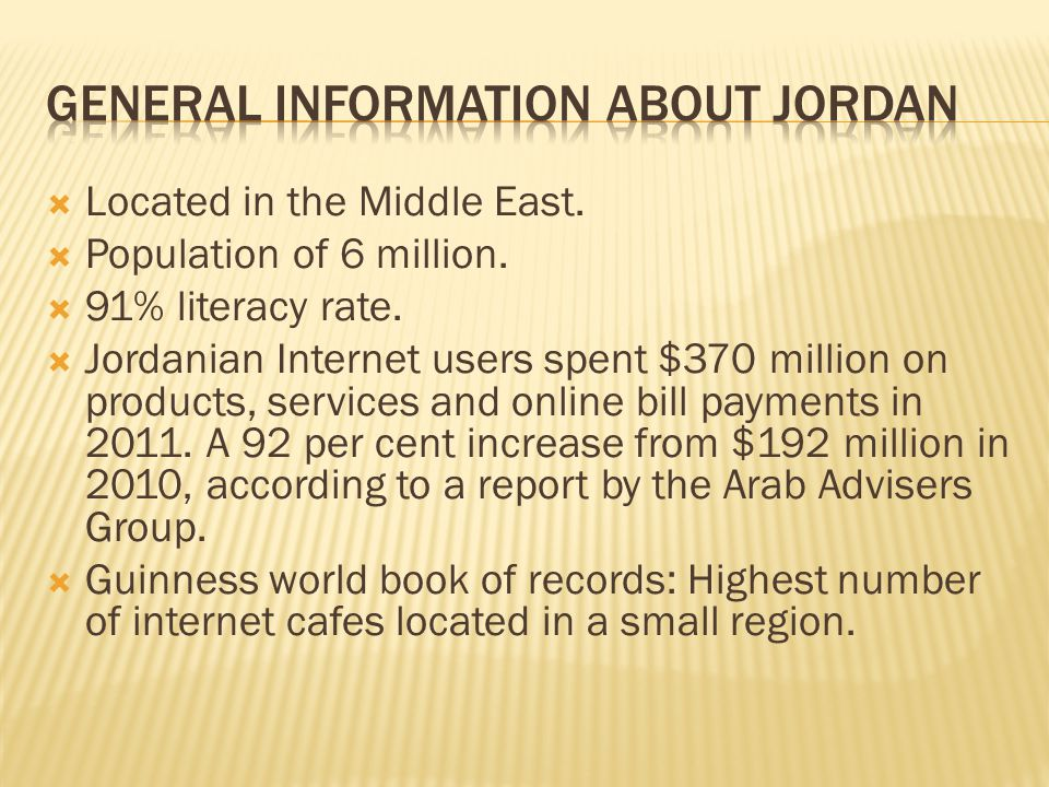  Located in the Middle East.  Population of 6 million.