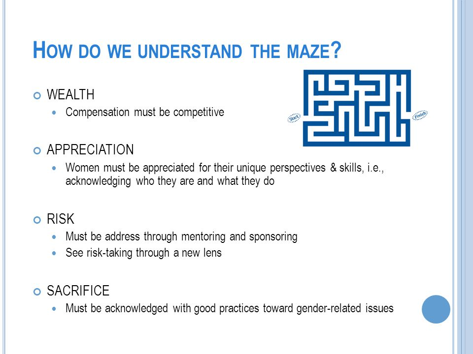 H OW DO WE UNDERSTAND THE MAZE .