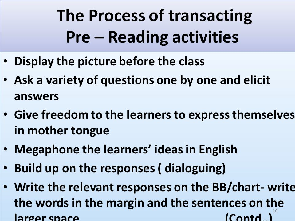 The Process of transacting Pre – Reading activities While writing say aloud holistically what you are writing (not letters ) Read the words and sentences written on the chart /BB Ask a few children to read (give propriety to low – proficient learners) Let children write the words and sentences in their notebooks from the BB In classes 2 to 5 this will turn out as a description of the trigger picture (what they see in the picture and what the people are seen doing ) While writing say aloud holistically what you are writing (not letters ) Read the words and sentences written on the chart /BB Ask a few children to read (give propriety to low – proficient learners) Let children write the words and sentences in their notebooks from the BB In classes 2 to 5 this will turn out as a description of the trigger picture (what they see in the picture and what the people are seen doing ) 11