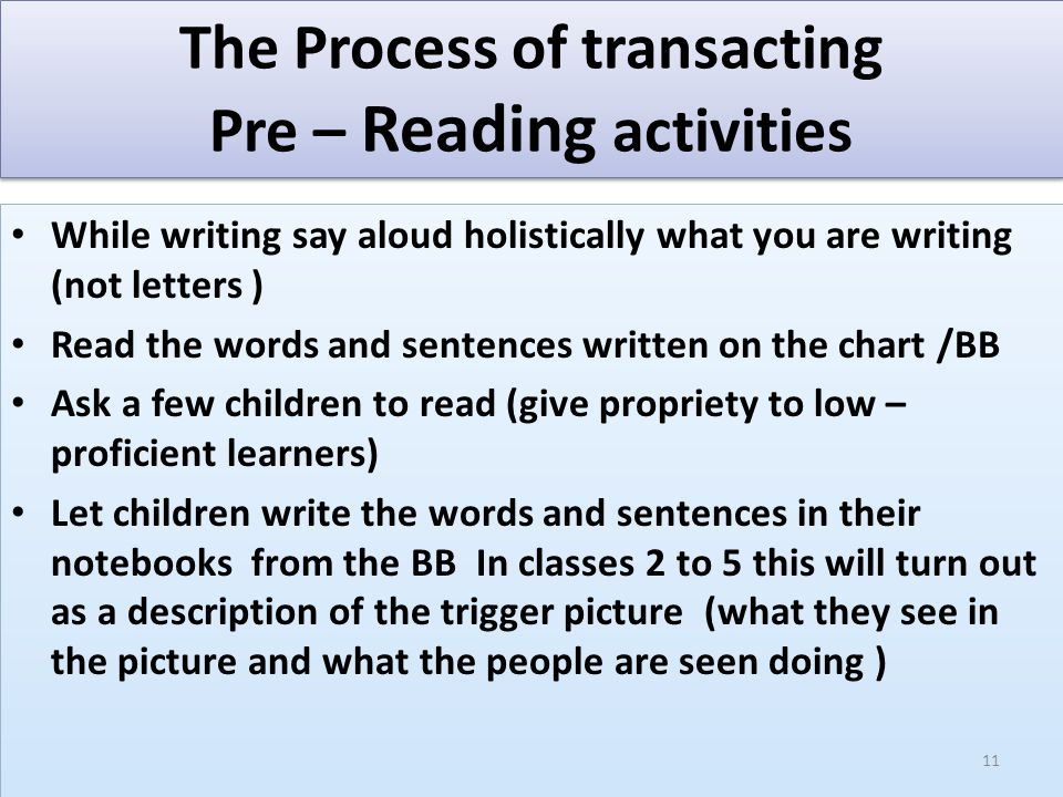 Reading Activities –Consolidation 1.Interact to link with the pre-reading activities 2.Assign specific part of the passage to read 3.Ask individuals to read the given text 4.Generate sub texts through interaction for helping the low-proficient readers 5.Go for collaborative reading – Sharing within the group – Using the glossary – Sharing between the groups – Asking a few comprehension questions(contd..) 1.Interact to link with the pre-reading activities 2.Assign specific part of the passage to read 3.Ask individuals to read the given text 4.Generate sub texts through interaction for helping the low-proficient readers 5.Go for collaborative reading – Sharing within the group – Using the glossary – Sharing between the groups – Asking a few comprehension questions(contd..) 12