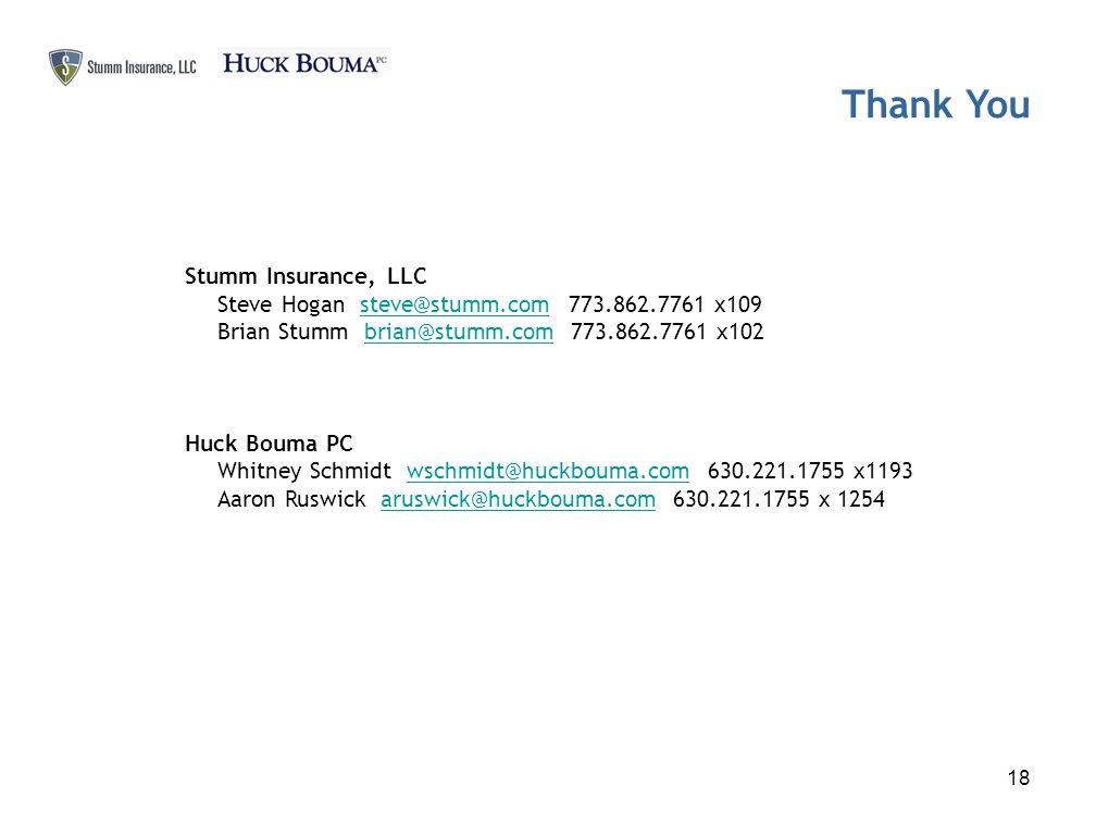 Thank You 18 Stumm Insurance, LLC Steve Hogan steve@stumm.com 773.862.7761 x109steve@stumm.com Brian Stumm brian@stumm.com 773.862.7761 x102brian@stumm.com Huck Bouma PC Whitney Schmidt wschmidt@huckbouma.com 630.221.1755 x1193wschmidt@huckbouma.com Aaron Ruswick aruswick@huckbouma.com 630.221.1755 x 1254aruswick@huckbouma.com