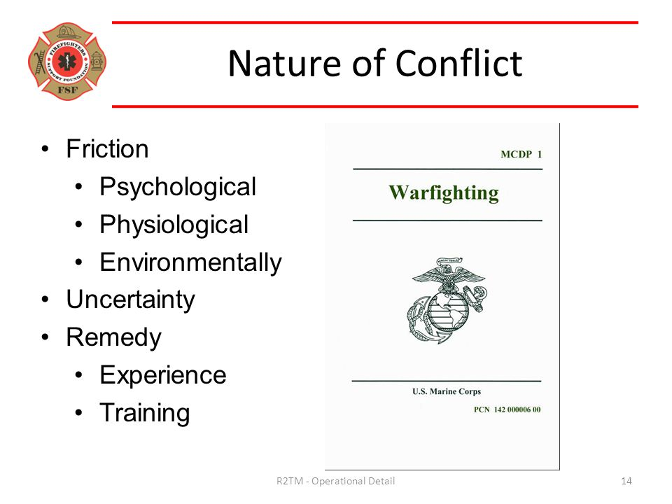 Friction Psychological Physiological Environmentally Uncertainty Remedy Experience Training Nature of Conflict 14R2TM - Operational Detail