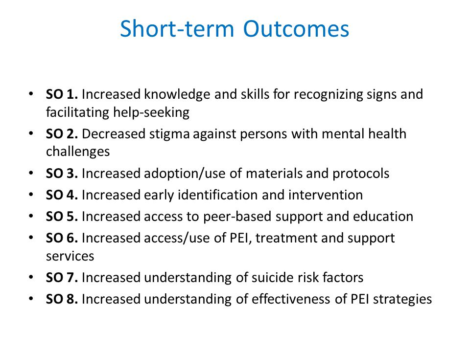 Short-term Outcomes SO 1.
