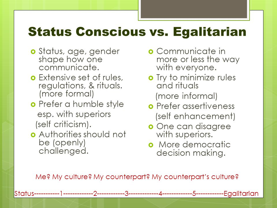 Status Conscious vs. Egalitarian  Status, age, gender shape how one communicate.