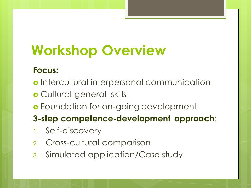 Workshop Overview Focus:  Intercultural interpersonal communication  Cultural-general skills  Foundation for on-going development 3-step competence-development approach : 1.