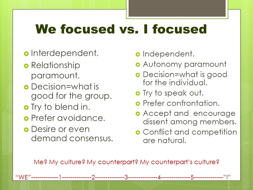 We focused vs. I focused  Interdependent.  Relationship paramount.