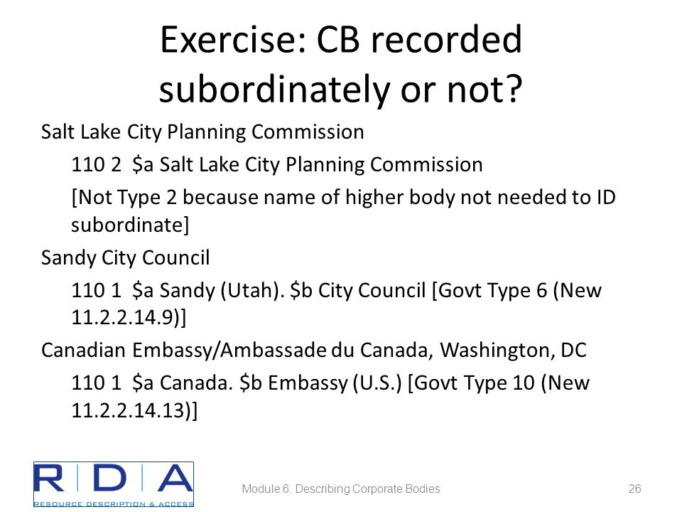 Exercise: CB recorded subordinately or not.