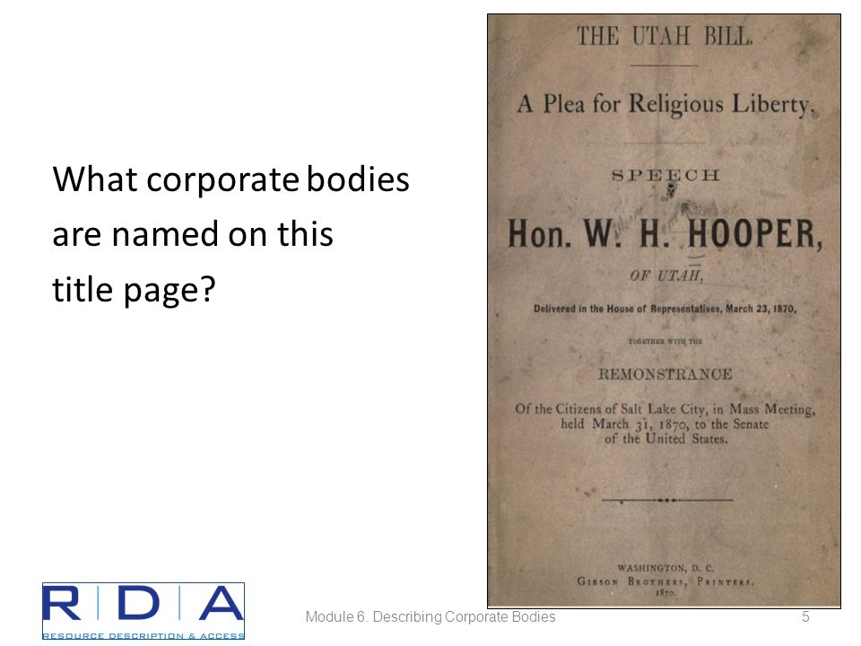 What corporate bodies are named on this title page Module 6. Describing Corporate Bodies5