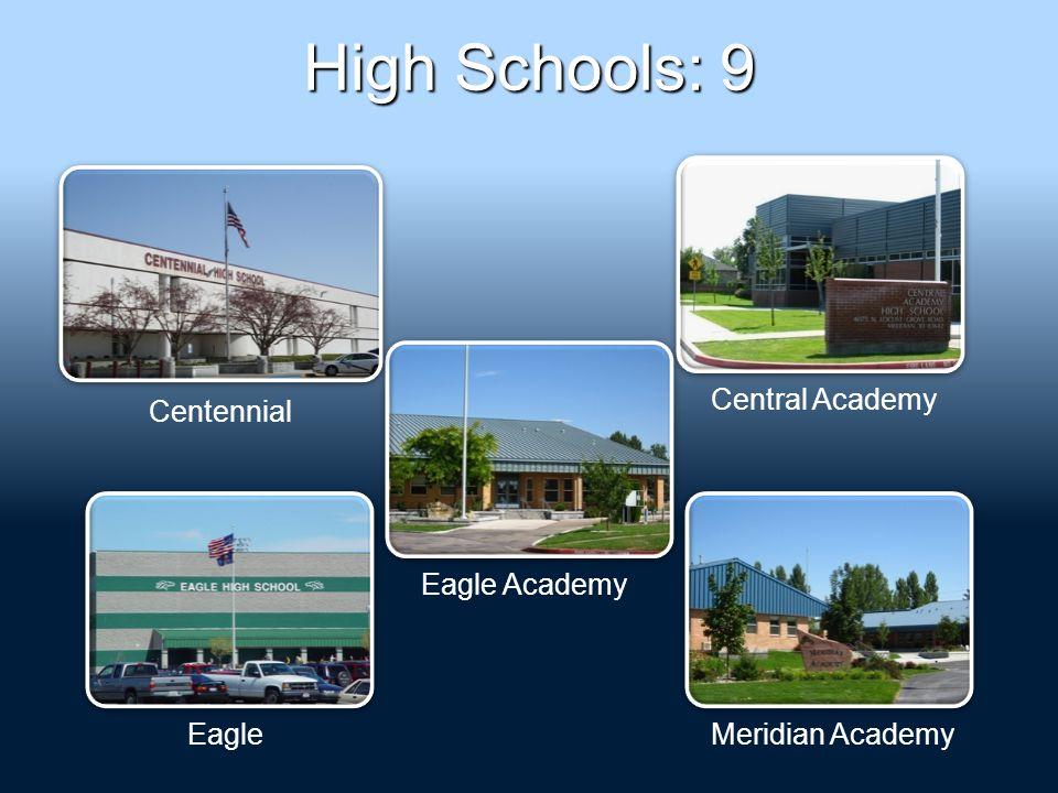 High Schools: 9 Centennial Central Academy Eagle Academy EagleMeridian Academy