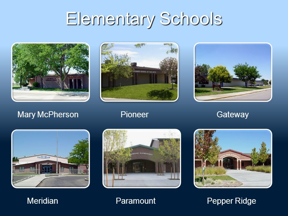 Elementary Schools Mary McPhersonGateway MeridianParamountPepper Ridge Pioneer
