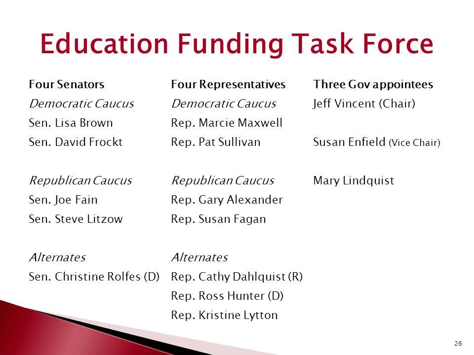 26 Four SenatorsFour RepresentativesThree Gov appointees Democratic Caucus Jeff Vincent (Chair) Sen.
