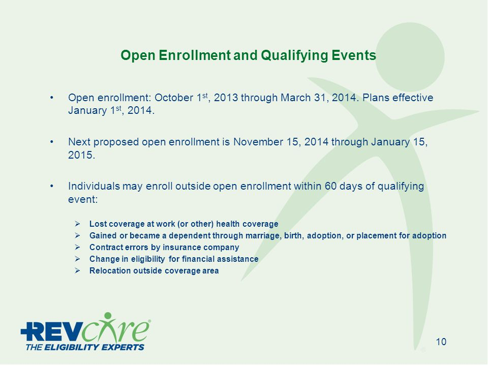 Open Enrollment and Qualifying Events Open enrollment: October 1 st, 2013 through March 31, 2014.