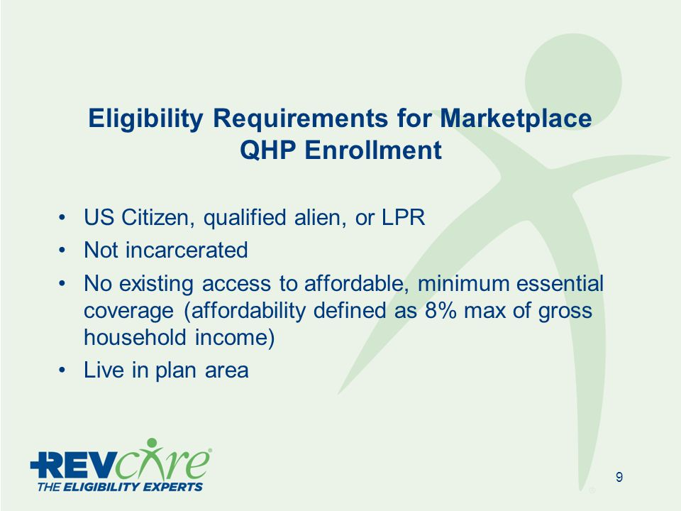 Eligibility Requirements for Marketplace QHP Enrollment US Citizen, qualified alien, or LPR Not incarcerated No existing access to affordable, minimum essential coverage (affordability defined as 8% max of gross household income) Live in plan area 9