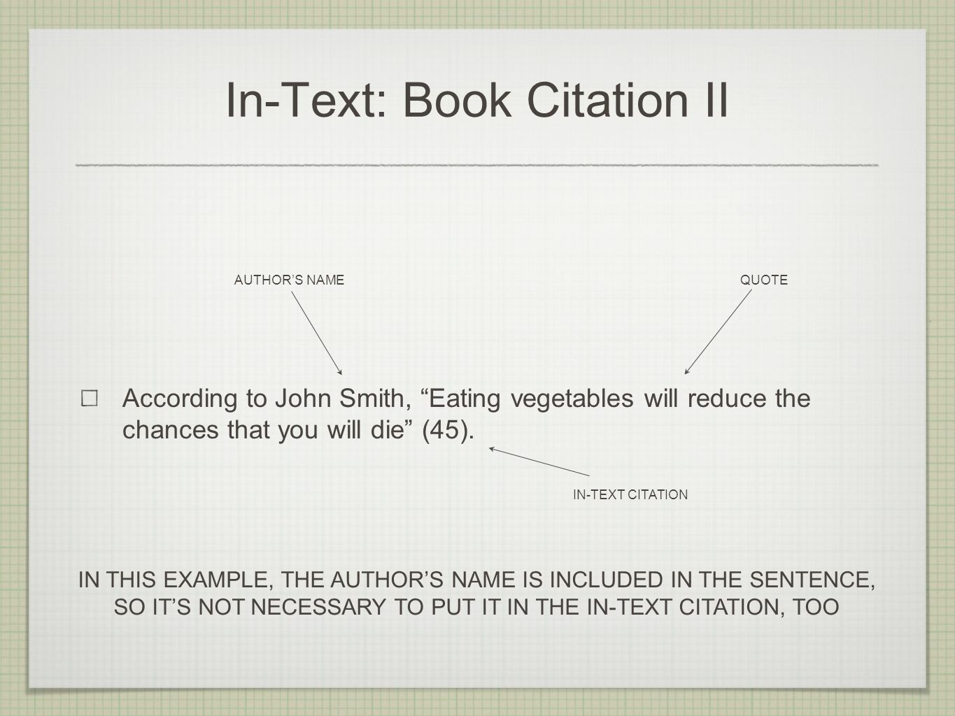 In-Text: Book Citation II According to John Smith, Eating vegetables will reduce the chances that you will die (45).
