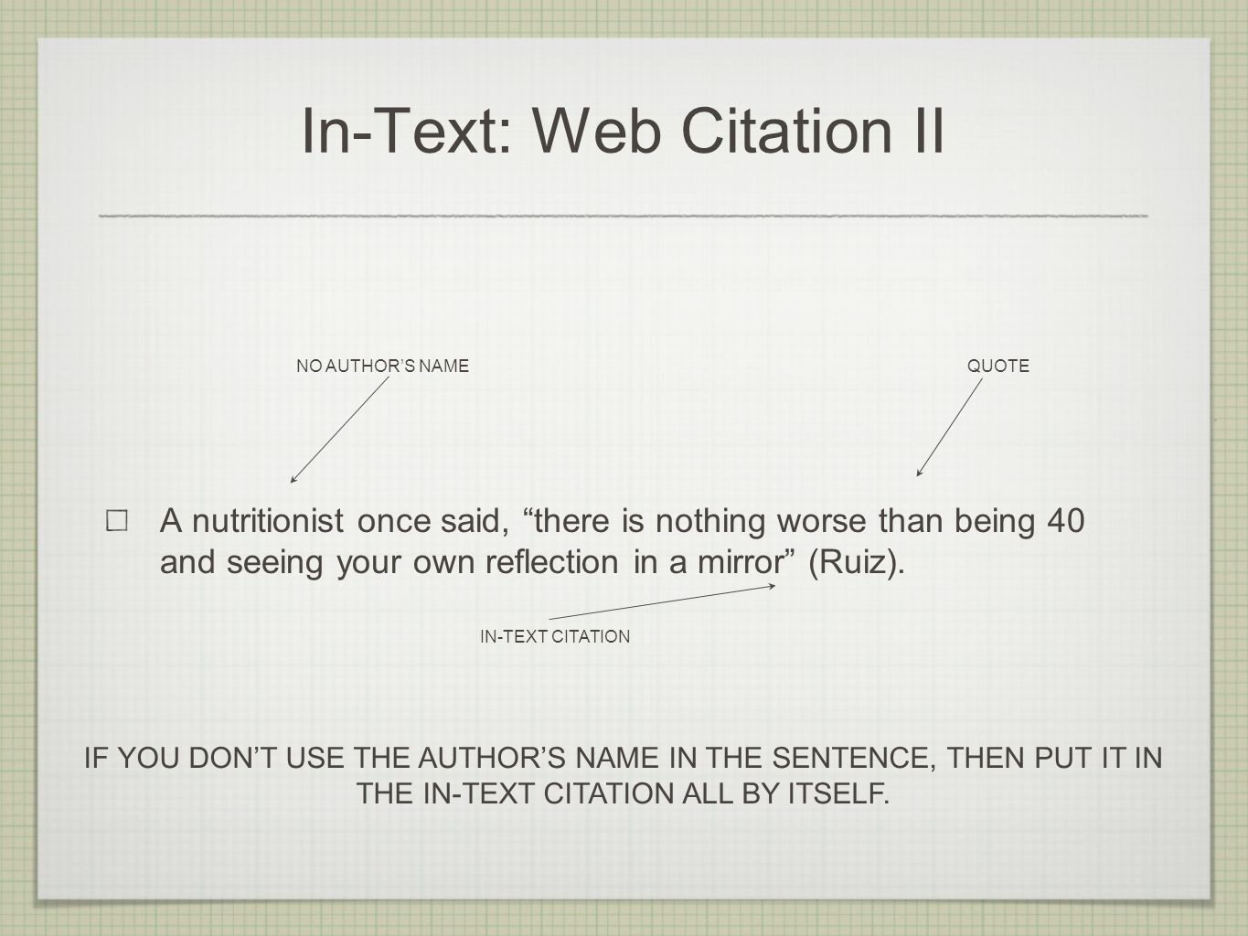 In-Text: Web Citation II A nutritionist once said, there is nothing worse than being 40 and seeing your own reflection in a mirror (Ruiz).