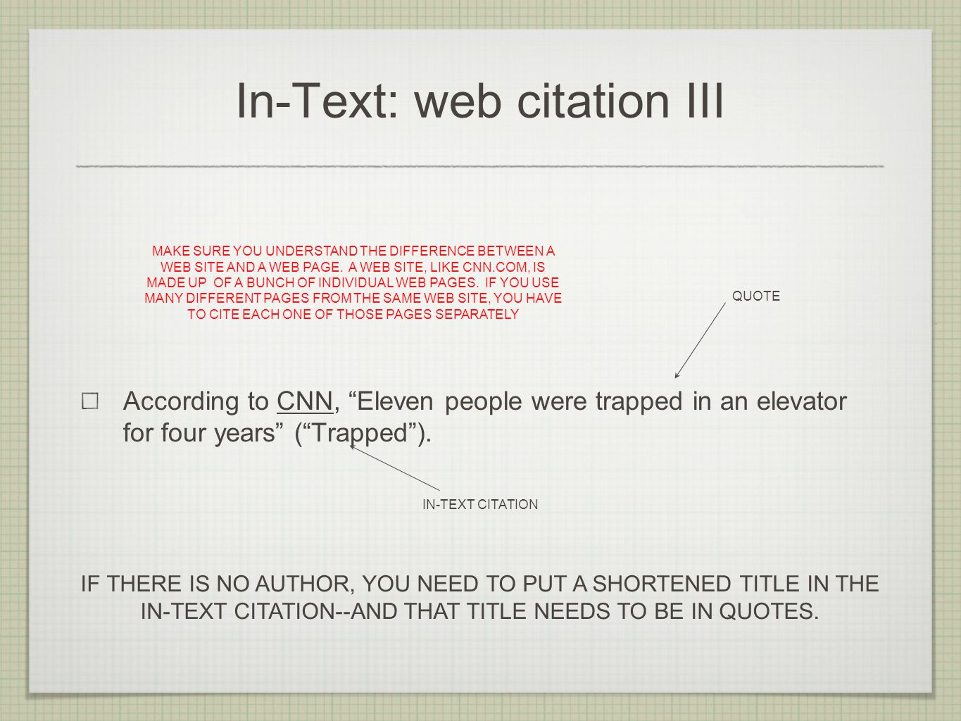 In-Text: web citation III According to CNN, Eleven people were trapped in an elevator for four years ( Trapped ).