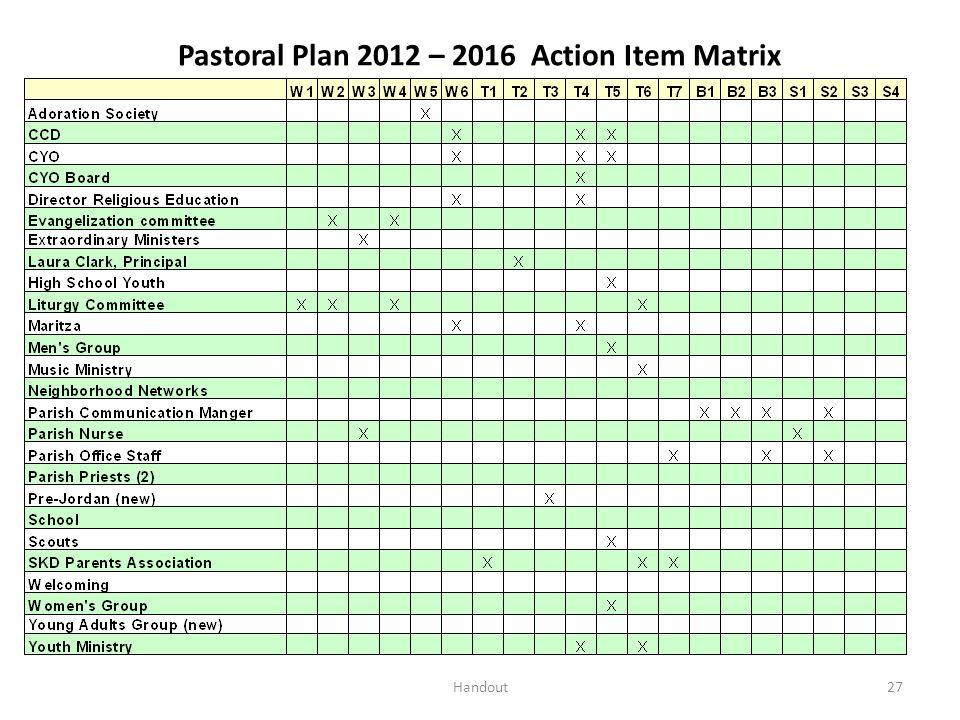 Pastoral Plan 2012 – 2016 Action Item Matrix 27Handout