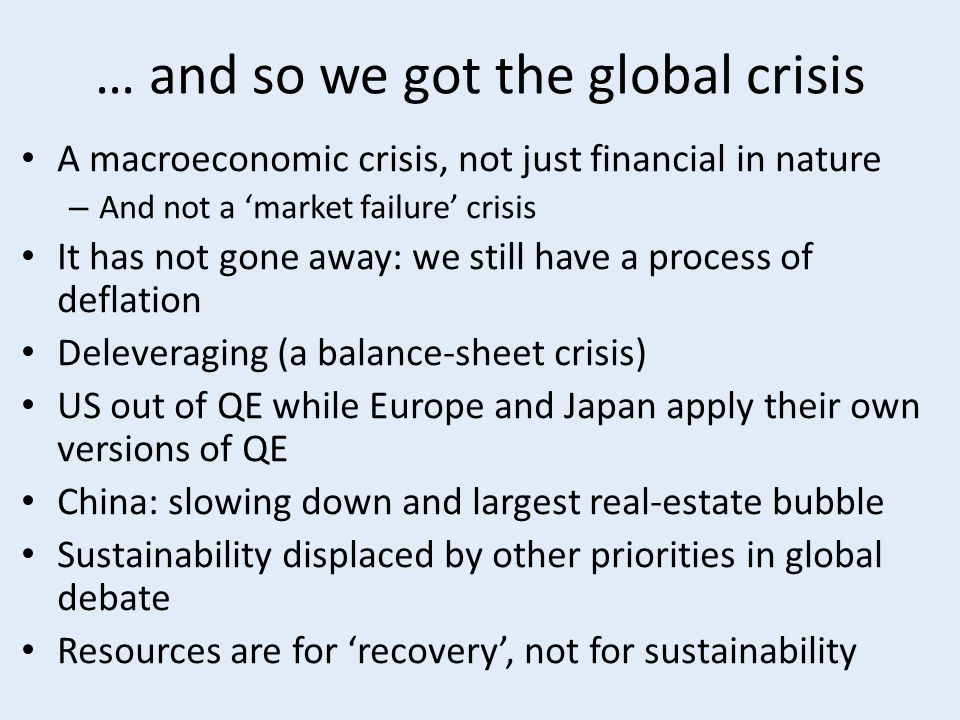 Objective and plan of this presentation Objective: explore the relation between macroeconomic features of the global economy and urban change in the context of environmental and social sustainability (E&SS) Plan: – What is 'macroeconomics'.