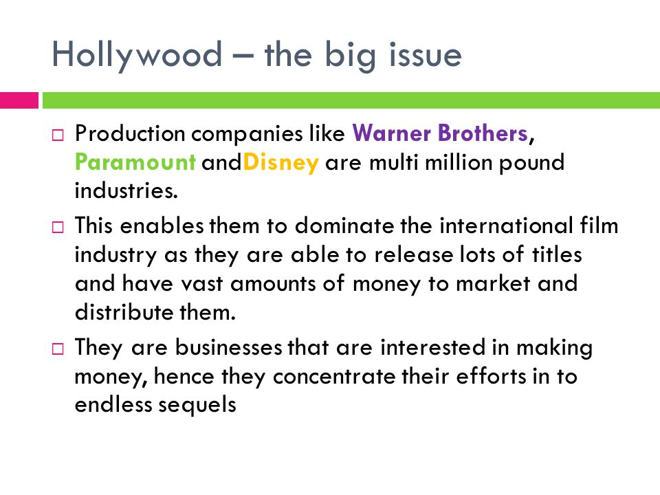 Film Rights  When an existing story (book, play, comic) is made into a film the rights have to be bought from the author – the product is their intellectual property  E.g.