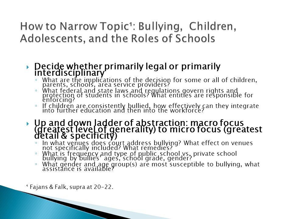  Decide whether primarily legal or primarily interdisciplinary ◦ What are the implications of the decision for some or all of children, parents, schools, area service providers.