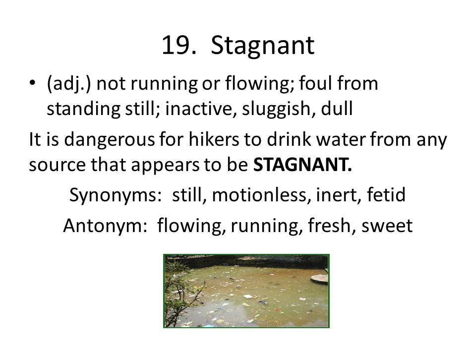 19. Stagnant (adj.) not running or flowing; foul from standing still; inactive, sluggish, dull It is dangerous for hikers to drink water from any sour