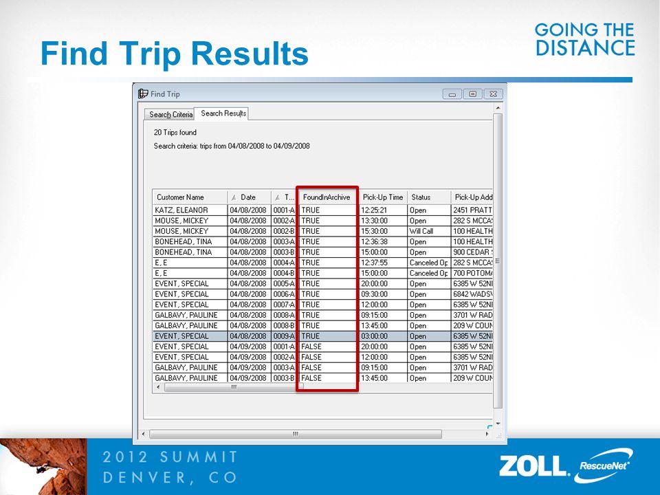 Find Trip Results