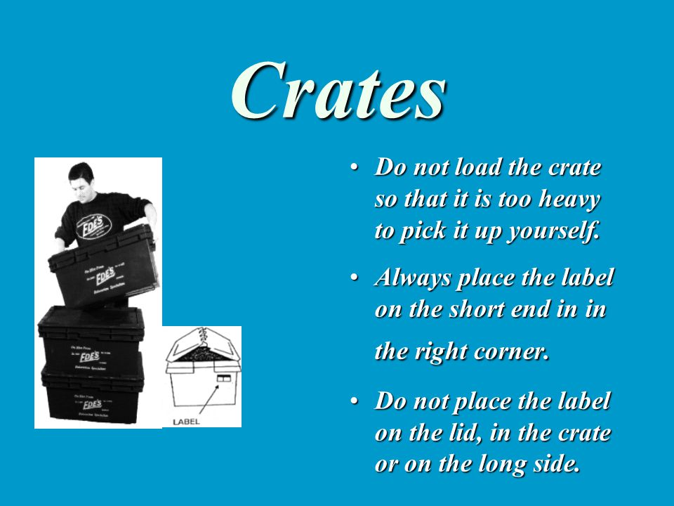Crates Do not load the crate so that it is too heavy to pick it up yourself.Do not load the crate so that it is too heavy to pick it up yourself. Alwa