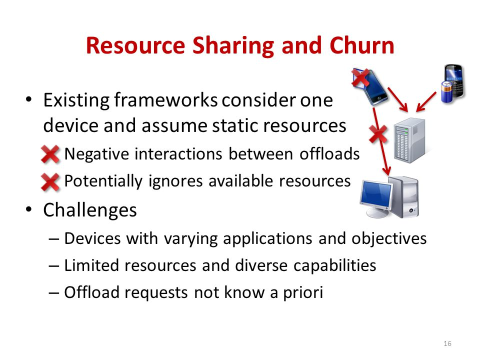 Resource Sharing and Churn Existing frameworks consider one device and assume static resources Negative interactions between offloads Potentially ignores available resources Challenges – Devices with varying applications and objectives – Limited resources and diverse capabilities – Offload requests not know a priori 16