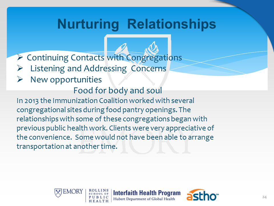 24 Nurturing Relationships  Continuing Contacts with Congregations  Listening and Addressing Concerns  New opportunities Food for body and soul In
