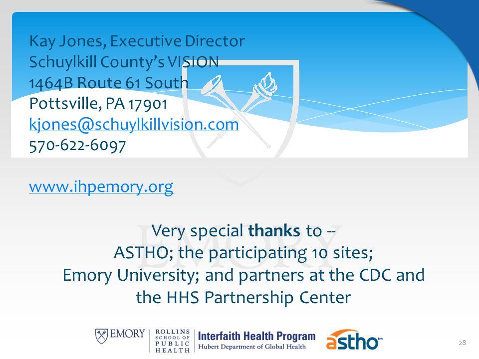 28 Kay Jones, Executive Director Schuylkill County's VISION 1464B Route 61 South Pottsville, PA 17901 kjones@schuylkillvision.com 570-622-6097 www.ihp