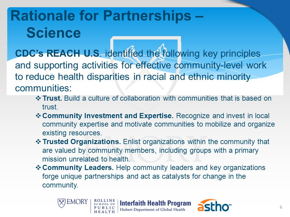 6 Rationale for Partnerships – Science CDC's REACH U.S.