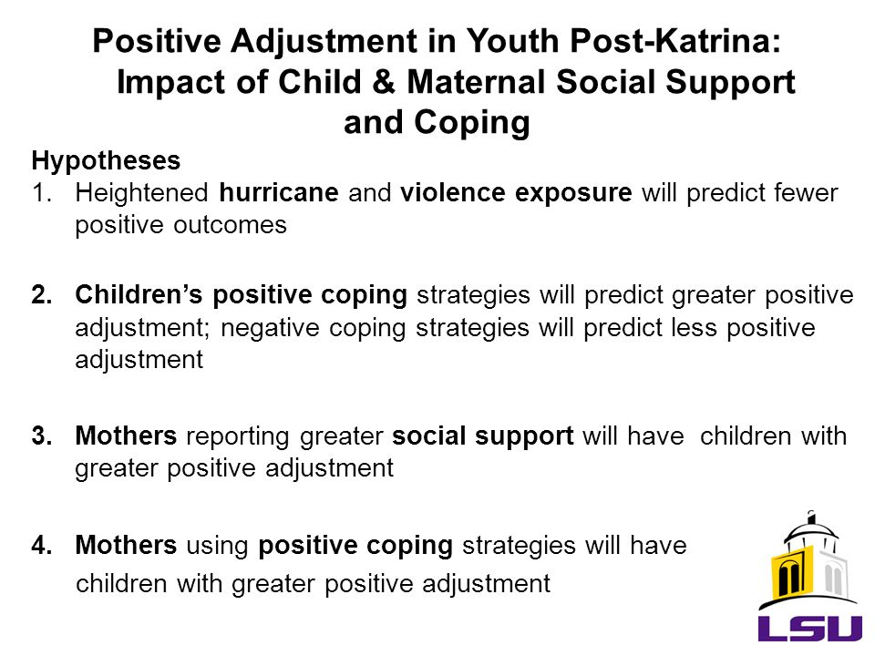 Hypotheses 1.Heightened hurricane and violence exposure will predict fewer positive outcomes 2.Children's positive coping strategies will predict greater positive adjustment; negative coping strategies will predict less positive adjustment 3.Mothers reporting greater social support will have children with greater positive adjustment 4.Mothers using positive coping strategies will have children with greater positive adjustment