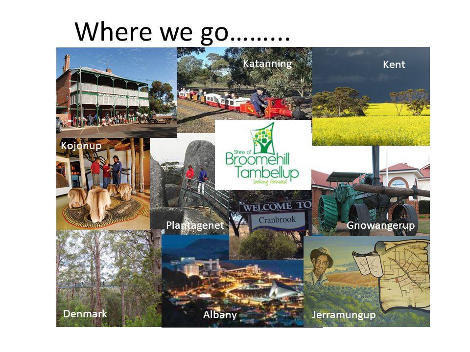 Where we go……... Denmark AlbanyJerramungup Gnowangerup Kojonup Katanning Kent Plantagenet