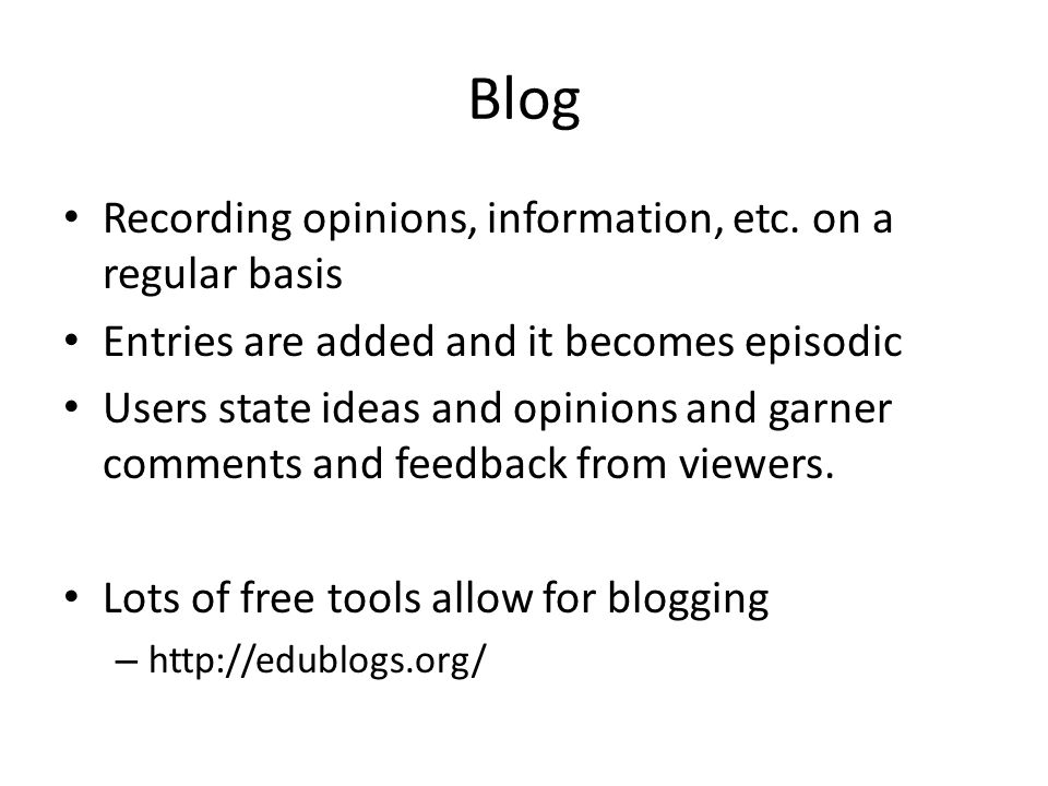 Blog Recording opinions, information, etc.