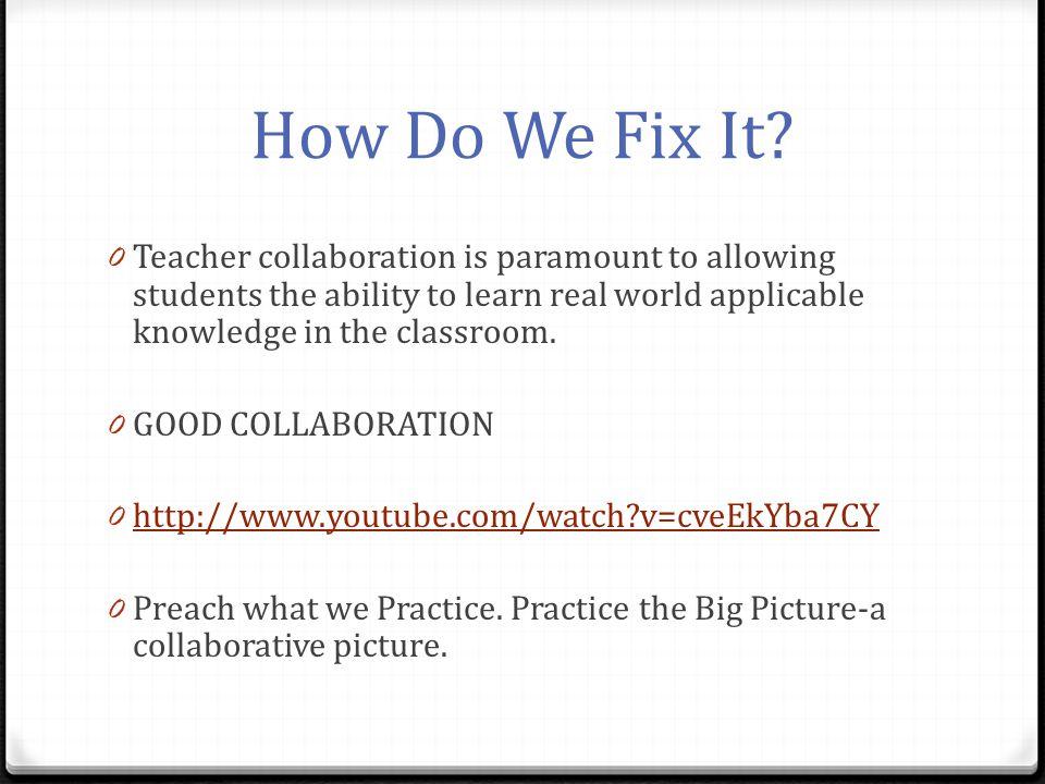 How Do We Fix It.