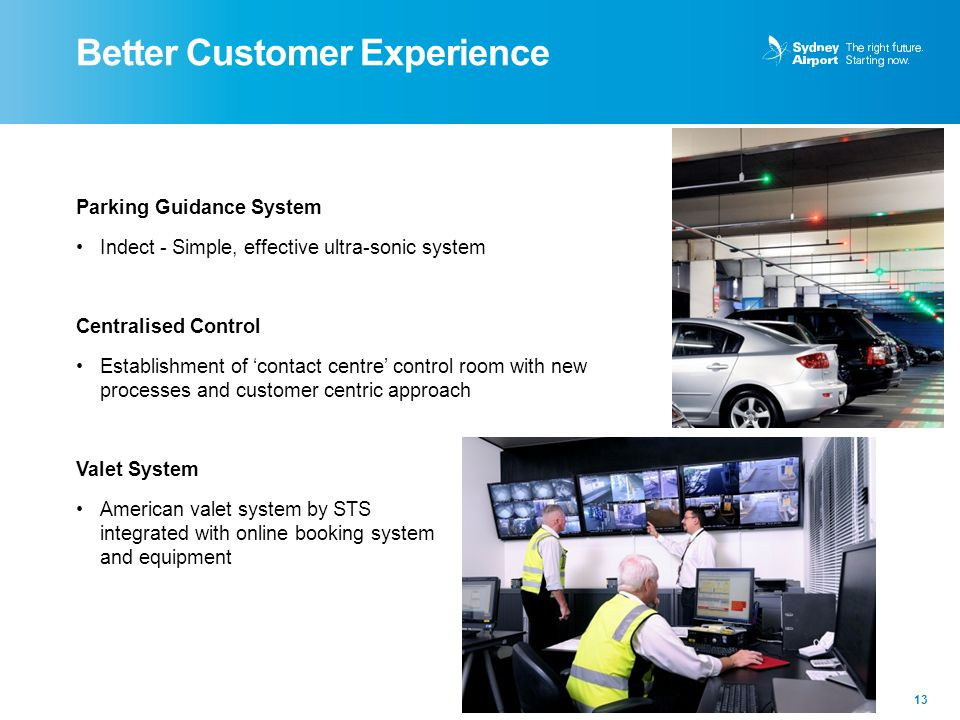 Better Customer Experience 13 Parking Guidance System Indect - Simple, effective ultra-sonic system Centralised Control Establishment of 'contact cent