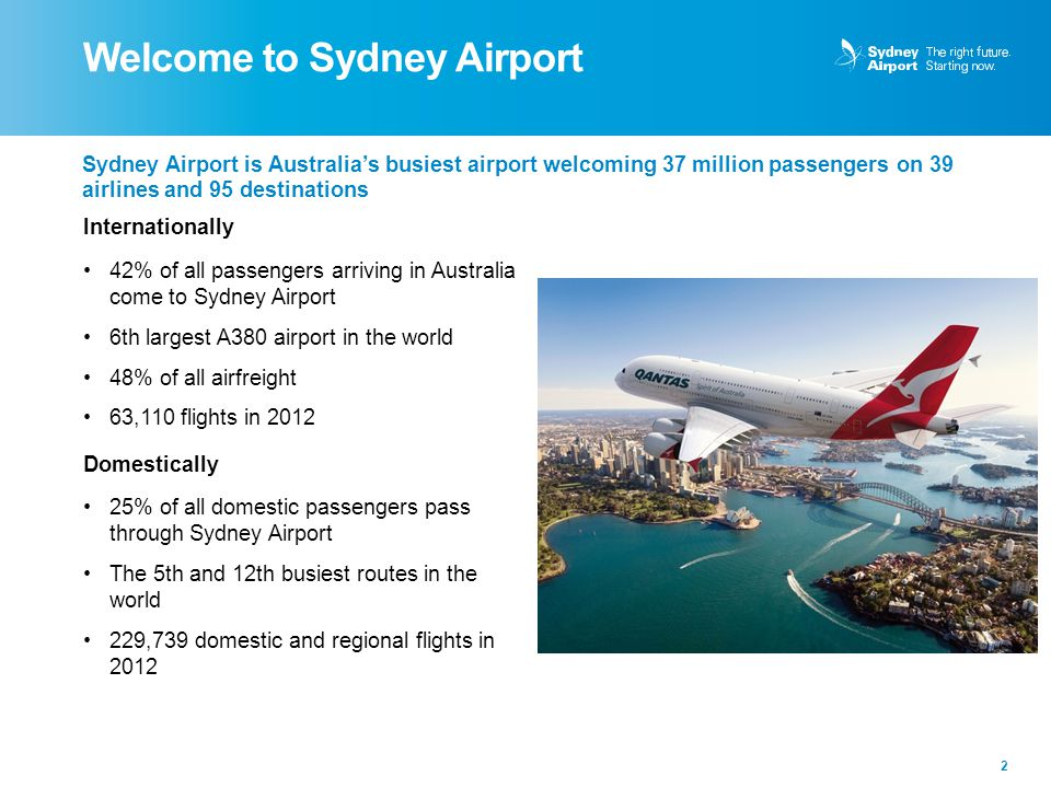 Welcome to Sydney Airport 2 Sydney Airport is Australia's busiest airport welcoming 37 million passengers on 39 airlines and 95 destinations Internati