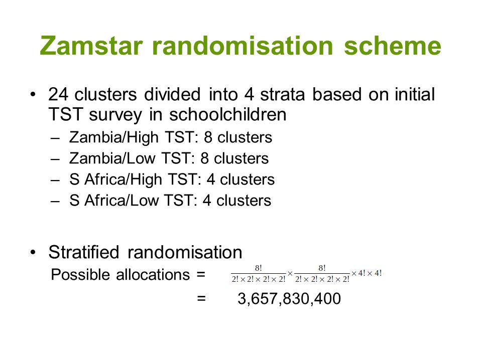 Zamstar randomisation scheme 24 clusters divided into 4 strata based on initial TST survey in schoolchildren –Zambia/High TST: 8 clusters –Zambia/Low