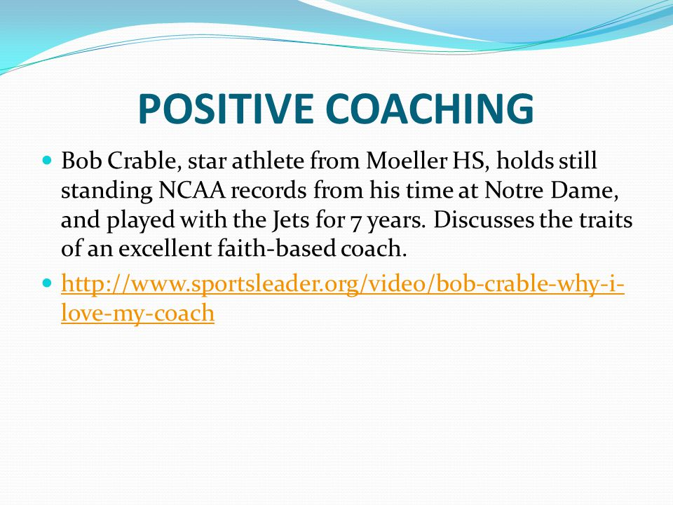 POSITIVE COACHING Bob Crable, star athlete from Moeller HS, holds still standing NCAA records from his time at Notre Dame, and played with the Jets for 7 years.