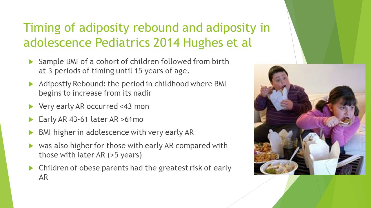 Timing of adiposity rebound and adiposity in adolescence Pediatrics 2014 Hughes et al  Sample BMI of a cohort of children followed from birth at 3 pe