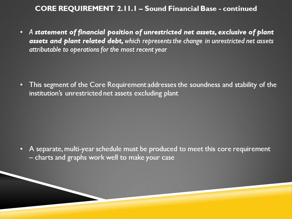 CORE REQUIREMENT 2.11.1 – Sound Financial Base - continued A statement of financial position of unrestricted net assets, exclusive of plant assets and