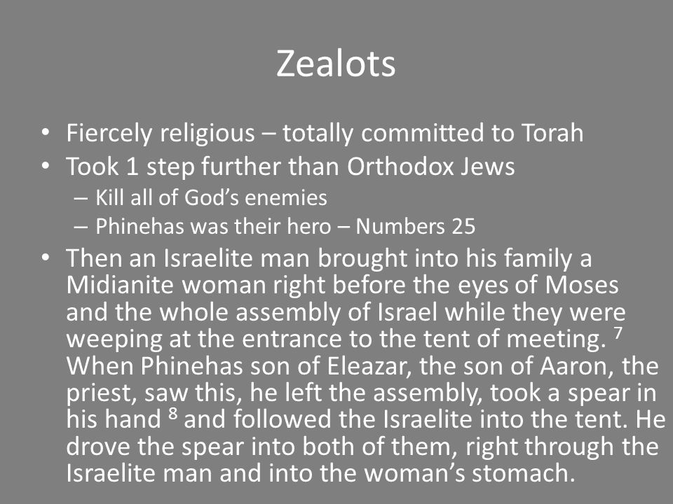 Zealots Fiercely religious – totally committed to Torah Took 1 step further than Orthodox Jews – Kill all of God's enemies – Phinehas was their hero –