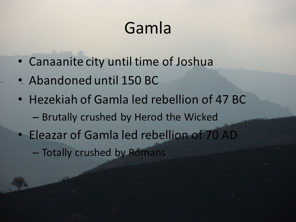 Gamla Canaanite city until time of Joshua Abandoned until 150 BC Hezekiah of Gamla led rebellion of 47 BC – Brutally crushed by Herod the Wicked Eleaz
