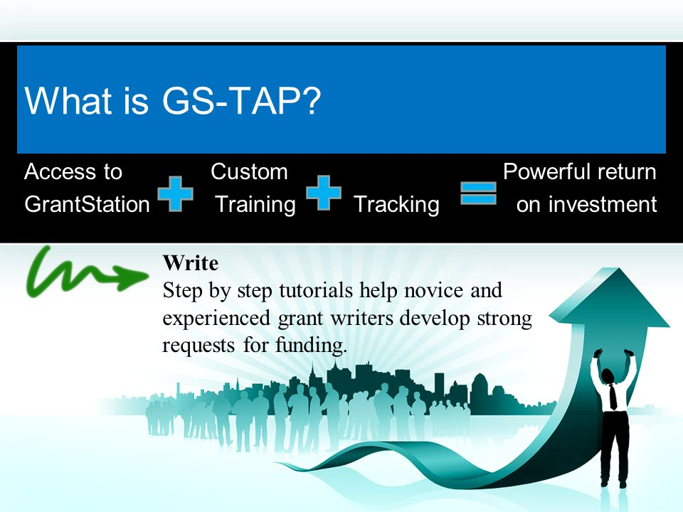 Access to Custom Powerful return GrantStation Training Tracking on investment Learn Guidance for developing a grant strategy, establishing a grants calendar, and creating the time to write proposals are easily accessible.