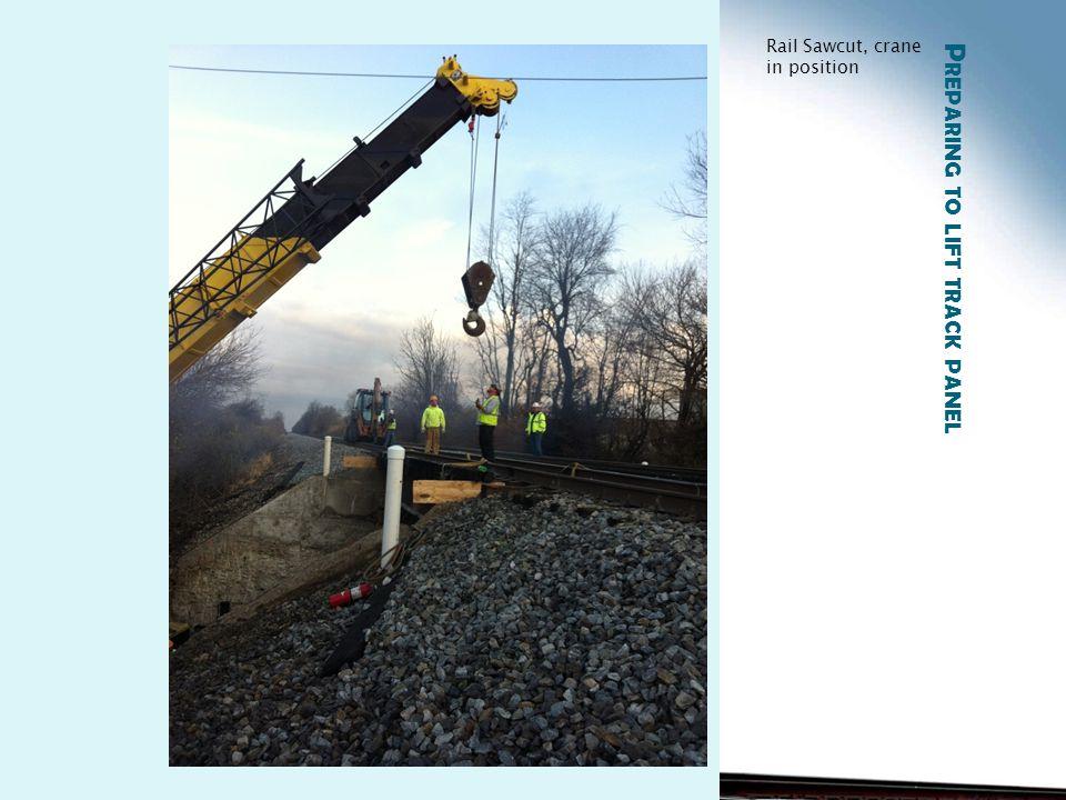 P REPARING TO LIFT TRACK PANEL Rail Sawcut, crane in position